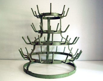 French Bottle Drying Rack, 1940s Green Metal Rack, Wine Bottle Drying, Glasses or Cup Rack, Rustic Industrial Decor, French Country Decor