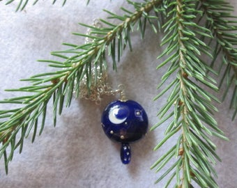 Moon and Stars Necklace ~ Star Night Pendant ~ Starry Night Necklace ~ Moon and Stars Necklace ~ Sterling Silver Jewelry ~ Lampwork Glass