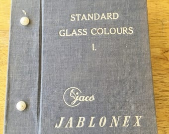 Jablonex Czechoslovakian Standard Glass Colours  Sample Glass Button Book   1950 Glass Czechoslovakian  140 Color Glass Buttons