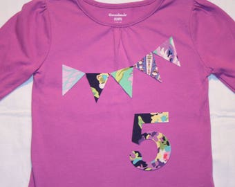 Girls 5th Birthday Shirt - Pennant Bunting and Number 5 size 5 long sleeve purple navy green, and pastels
