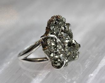 Pyrite Druzy Ring
