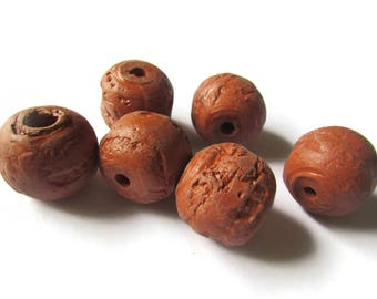 22mm Terracotta Beads Large Round Beads Loose Ball Beads Clay Beads Ceramic Beads Natural Beads Oil Diffuser Large Hole Beads Jewelry Making