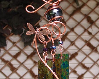 Dragonfly Windchime Glass Wind Chimes Copper Garden Lawn Yard Art Sculpture Stained Glass Ornament Metal Black