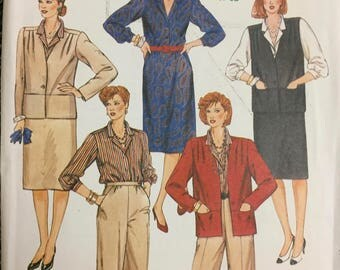 80's McCall's 2184 Half Size Jacket, Vest, Blouse, Skirt  and Pants Bust 45 inches Uncut  Complete Sewing Pattern