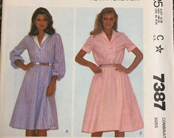 80's McCall's 7387 Misses' Dress  size  10-12-14 Bust 32-34-36 inches  Uncut Complete Sewing Pattern