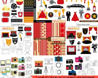 Hollywood party clipart bundle sale / movie night, red carpet party, camera photography clip art download / commercial use clip art