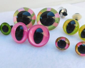 5 PAIR Safety EYES Unique Hand Painted For Crafts, Sewing, Crochet, Cats, Teddy Bear, Doll, Plush Animal, Anime, Monster, Puppet  UQ-81