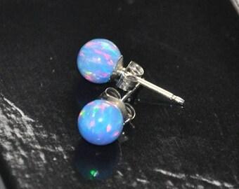 Earrings Opal, Sterling Silver Earrings,  Blue Opal,  Australian Opal, 6mm Ball Stud Earrings, 925 Sterling Silver,  Gift For Her