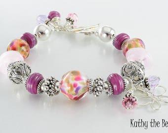 Lampwork Bracelet - Lampwork Pink Purple Bali Sterling Silver Bead Bracelet - KTBL