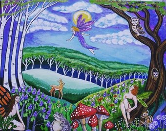 Faerie Land Where the woods meets the meadow Art Card 5 by 7 Gift Card Free Shipping in United States