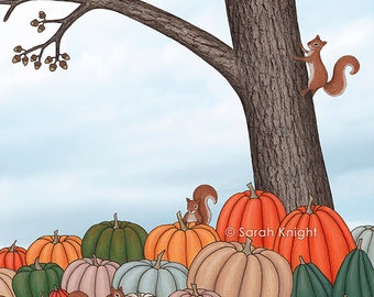 heirloom pumpkins, squirrels, & the oak tree - art print 8X10 inches, cute whimsical colorful squash fall autumn gray blue nature picture