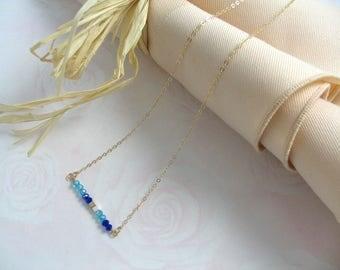 Delta Delta Delta Tri Delta Sorority Minimalist 14K Gold Filled Crystal Color Necklace OFFICIALLY LICENSED