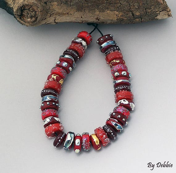 DSG Beads~ Artisan Debbie Sanders Handmade Glass Beads~ Lady In Red~ Made To Order