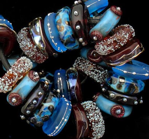 DSG Beads~Artisan Debbie Sanders Handmade Lampwork Glass Beads ~Brown Eyes Blue~ Made To Order