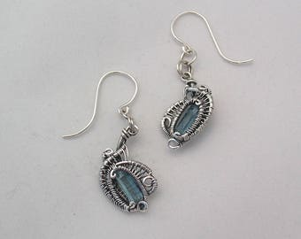 Wire Wrapped Earrings Raw Aquamarine Earrings Natural Crystal Jewelry Heady Wire Wrap Jewelry Handmade Sterling Silver