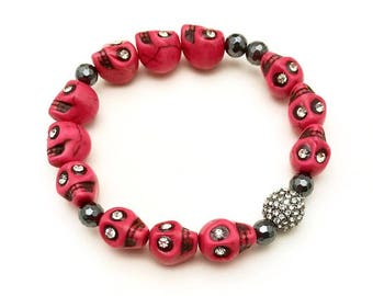 Pink Black Skull Rhinestone Boho Beaded Bracelet  Day of the Dead Cult  Dia de los Muertos For Her Under 90 US Free Shipping Gift Wrap