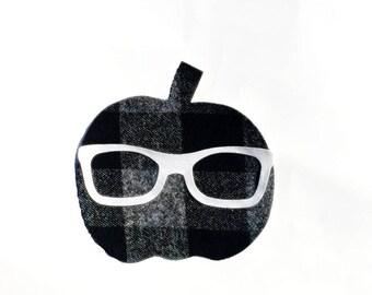 Halloween//Fall/Pumpkin// Geek Glasses//Gender Neutral//Fabric Iron On Applique(s)