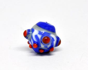 Museum style Red white blue viking bead
