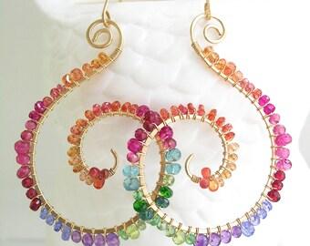 Large Spiral Chakra Earrings, Rainbow Gemstone 14k Gold Filled Nautilus Dangles, Bohemian Flair, Hand Wrought, Artisan Made