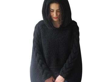 20% WINTER SALE Plus Size Knitting Sweater Capalet with Hoodie - Over Size Black Cable Knit by Afra