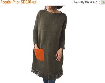 20% WINTER SALE Army Green Hand Knitted Dress with Orange Pocket