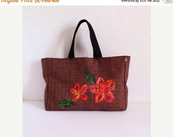 ON SALE Large brown tote bag hand painted flowers and crystals