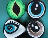Set of 4 Polymer Clay Mini Eye Canes (50ee)