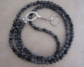 snowflake obsidian silver lanyard badge ID holder