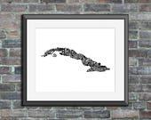 Cuba typography map art u...