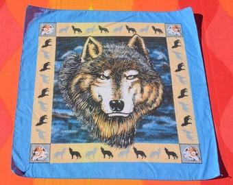 80s vintage bandana scarf WOLF howling native tribal bandanna handkerchief