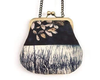 Leaves mini cross-body purse with chain handle, brown leaf, reeds, LOCHAN REEDS bag