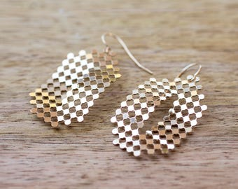 Gold Dangle Earrings, Gold Dots Earrings, Oval Earrings, Modern Architectural Jewelry, Mesh earrings