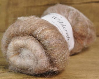 Carded Wool/Luxury Fibre Batt 50g - 'Tawny'