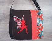 Red Fairy bag flap for LARGE messenger bag, changeable flap collection**FLAP ONLY**