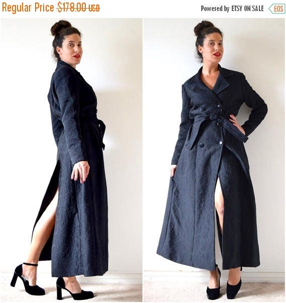SUMMER SALE/ 30% off Vintage 60s 70s Black Quilted Double Breasted Princess Coat (size small, medium)