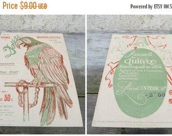 ON SALE Vintage Antique 1920s French recueil de 12 monologues /book/issue