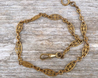Vintage Antique French  plated gold pocket watch chain