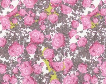 HALF YARD - Tina Givens, Rose Water, Topiary, Pink Floral cotton quilting fabric