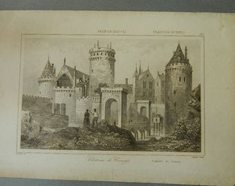 French engraving - Castle of Coucy North-East of Paris - Romantic castle -