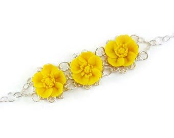 Three Buttercup Vintage Style Bracelet - Trio Buttercup Jewelry, Yellow Buttercups Filigree Bracelet, Yellow Buttercup