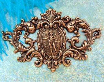 ANTIQUE COPPER * Victorian Scrolling Deer Crest High Relief Cherub Stampings - Ornament (C-906)