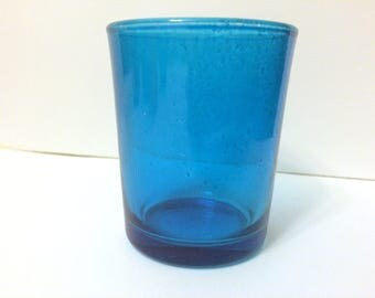 Deep turquoise glass votives - 20pcs - NEW in box