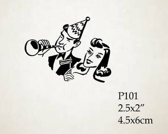 P110 Party Time - Celebration Rubber Stamp