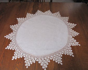 Antique Round Linen Crocheted Table Topper, Vintage Round Topper, Handmade, Crocheted Edge, Linen, Table Topper, Tablecloth, Elegant, Doily