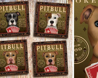 Pit bull pit bull dog Club poker lounge artwork on gallery wrapped canvas  by stephen fowler
