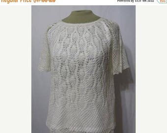 Solar Clearance Vintage Dress Skirt Top Crocheted Early 1980s  80s Lacey Crochet New Old Stock Peasant Boho Beach Cruise
