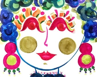 Morning Glory - Portrait of  Flower Girl - Carmen Miranda Inspired Face - Print from Original Watercolor Painting by Suzanne MacCrone Rogers