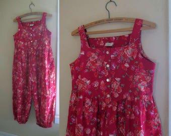 80s Laura Ashley Vintage Romper Poppies Pink and Orange flowers Cropped jumpsuit 80s vintage jumpsuit vintage Floral romper summer Sunsuit S