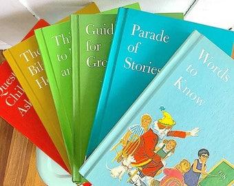 Reading Rainbow... Vintage Set of 6  Child Horizons Books Rainbow Book Stack Children Nursery Decor