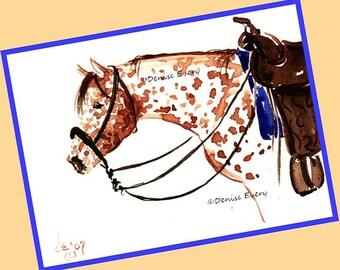 Sorrel Leopard Appaloosa Bosal Western Tack Appaloosa Horse Art Print Appaloosa Gift Appaloosa Horse Lover Gift Horse ACEO Print Horse Print